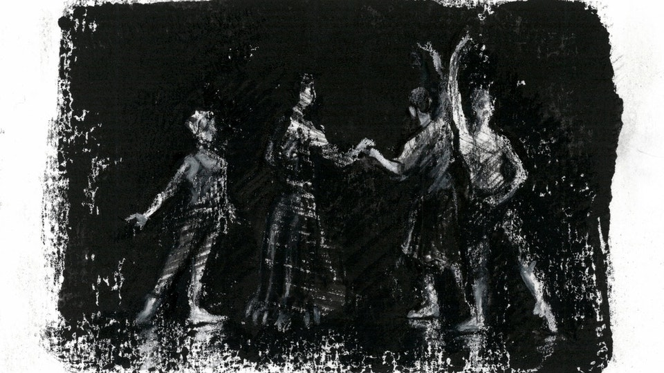 "THEATER, OPERA, & BALLET - Degas Rehearsal. ""The Phantom of the Opera"" World Tour. (Gouache monotype with ink & colored pencil)"