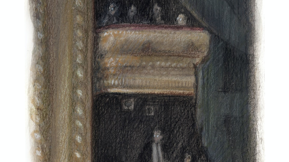 THEATER, OPERA, & BALLET - Grand Tier and balcony boxes at the Royal Opera House. (Watercolor, gouache, & colored pencil)