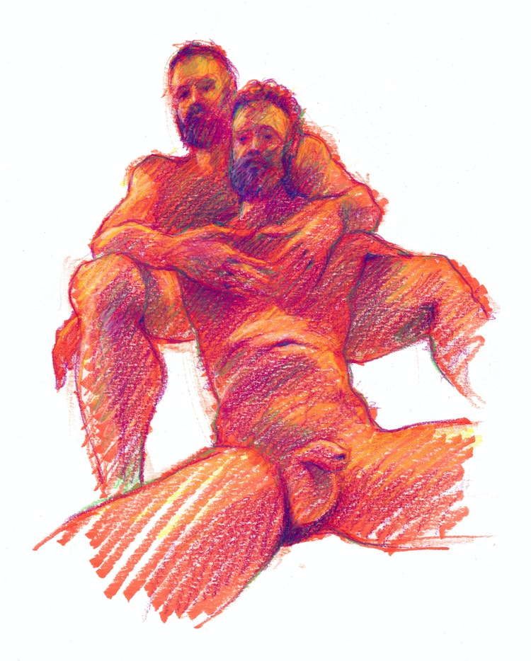 Figure Drawing - Matt & Stephen 01 (Red)