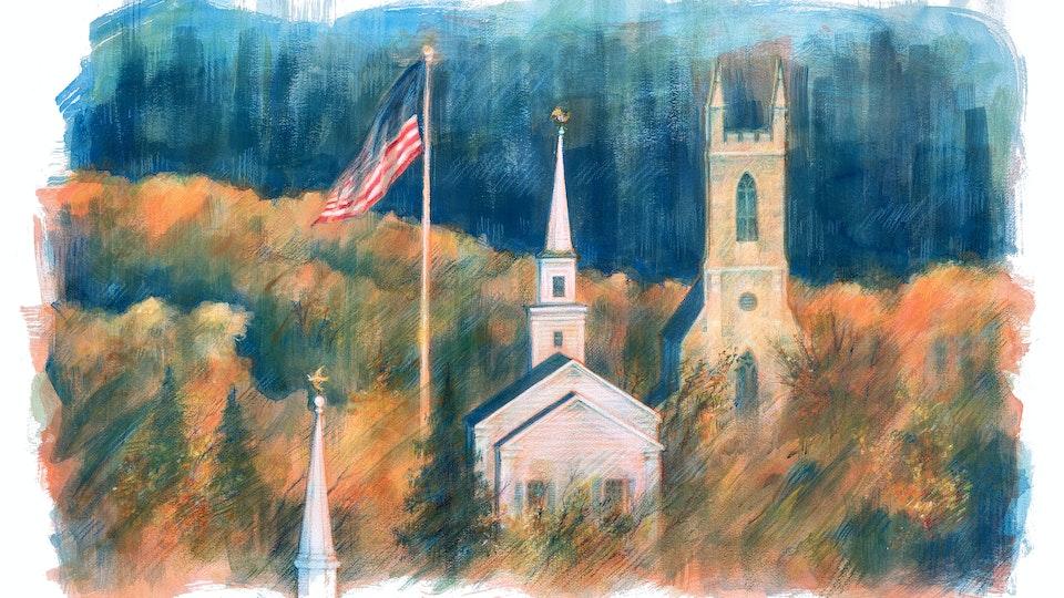 CITIES, LANDSCAPES, & ARCHITECTURE - Newtown, Connecticut. (Acrylic gouache & wax pastel)