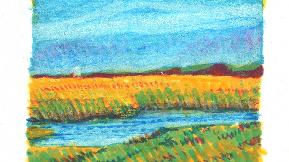 PROVINCETOWN - The Salt Marshes. (Thumbnail sketch. Marker & colored pencil)