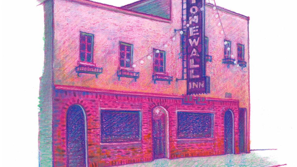 "NYC PRIDE - Stonewall Inn. NYC Pride Series. (Marker, colored pencil, & gouache, 8""x8"")"