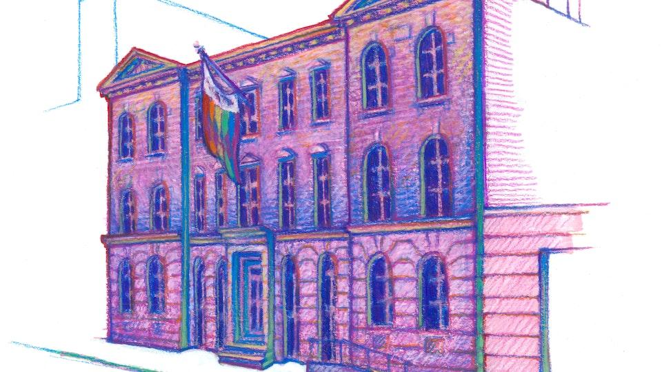 "NYC PRIDE - The L.G.B.T. Community Center. NYC Pride Series. (Marker, colored pencil, & gouache, 8""x8"")"