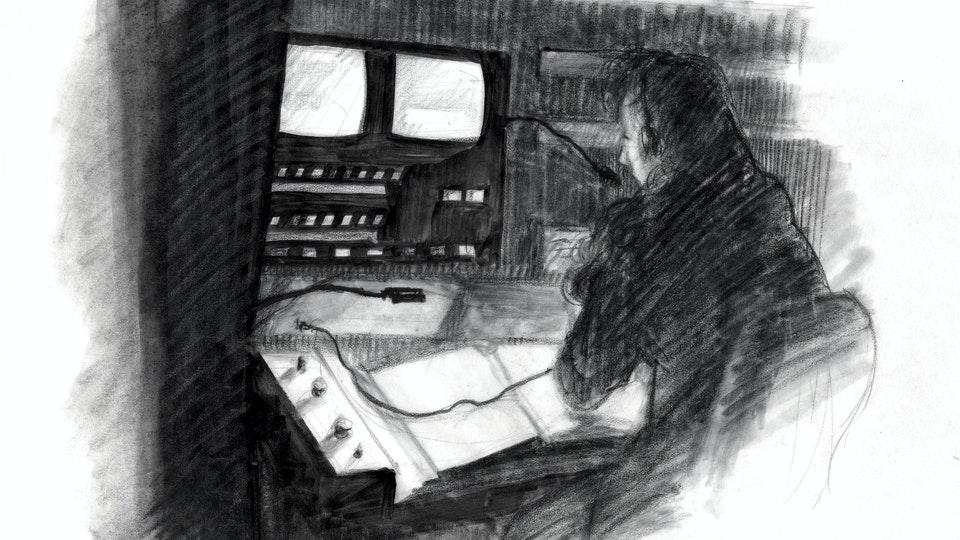 THEATER, OPERA, & BALLET - Stage Manager at her Calling Desk. Royal Opera House. (Marker, graphite, & colored pencil)
