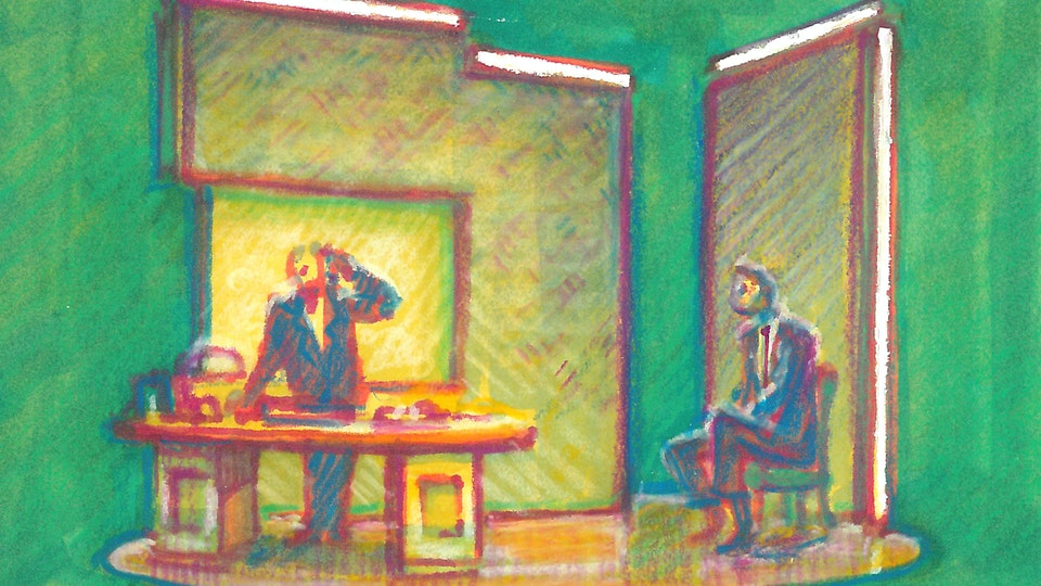 """THEATER, OPERA, & BALLET - Rehearsing Roy's Office. """"Angels In America"""" Broadway revival. (Marker, colored pencil, & gouache)"""