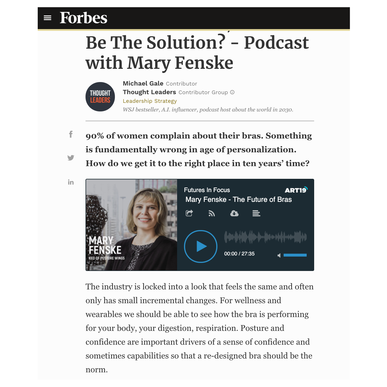 Mary Fenske by Kathreen Absuelo Featured on Forbes