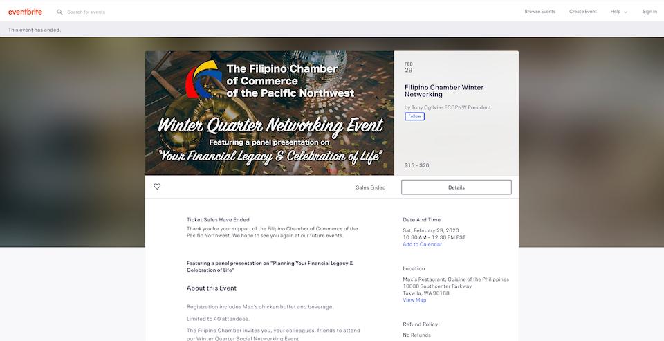 Filipino Chamber of Commerce's Winter Quarter Networking Event