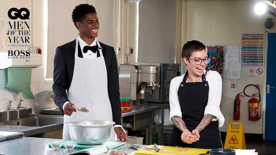 Marcus Rashford makes school dinners with Jack Monroe | GQ Men Of The Year 2020