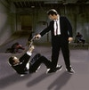 Reservoir Dogs - After working out my thumbnail sketch and getting an idea of composition, I gathered reference and created a digital mock-up with photo elements.  The warehouse interior is never shown in full view from this angle at any point in the film, so I used screencaps of several shots throughout the movie and stitched them together - editing and warping where necessary - to create a full backdrop on which to build the poster.  The stand off between Mr. White and Mr. Pink is pulled from another scene, as is the tortured police officer.