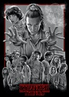 Stranger Things - This is the poster drawing fully assembled with the border effects and logo placement. From here I coloured the the piece as a whole, adding effects such as lighting on the logo at the same time to create a cohesive image.  Below you can see an animation of the colours coming together once the piece was fully assembled.