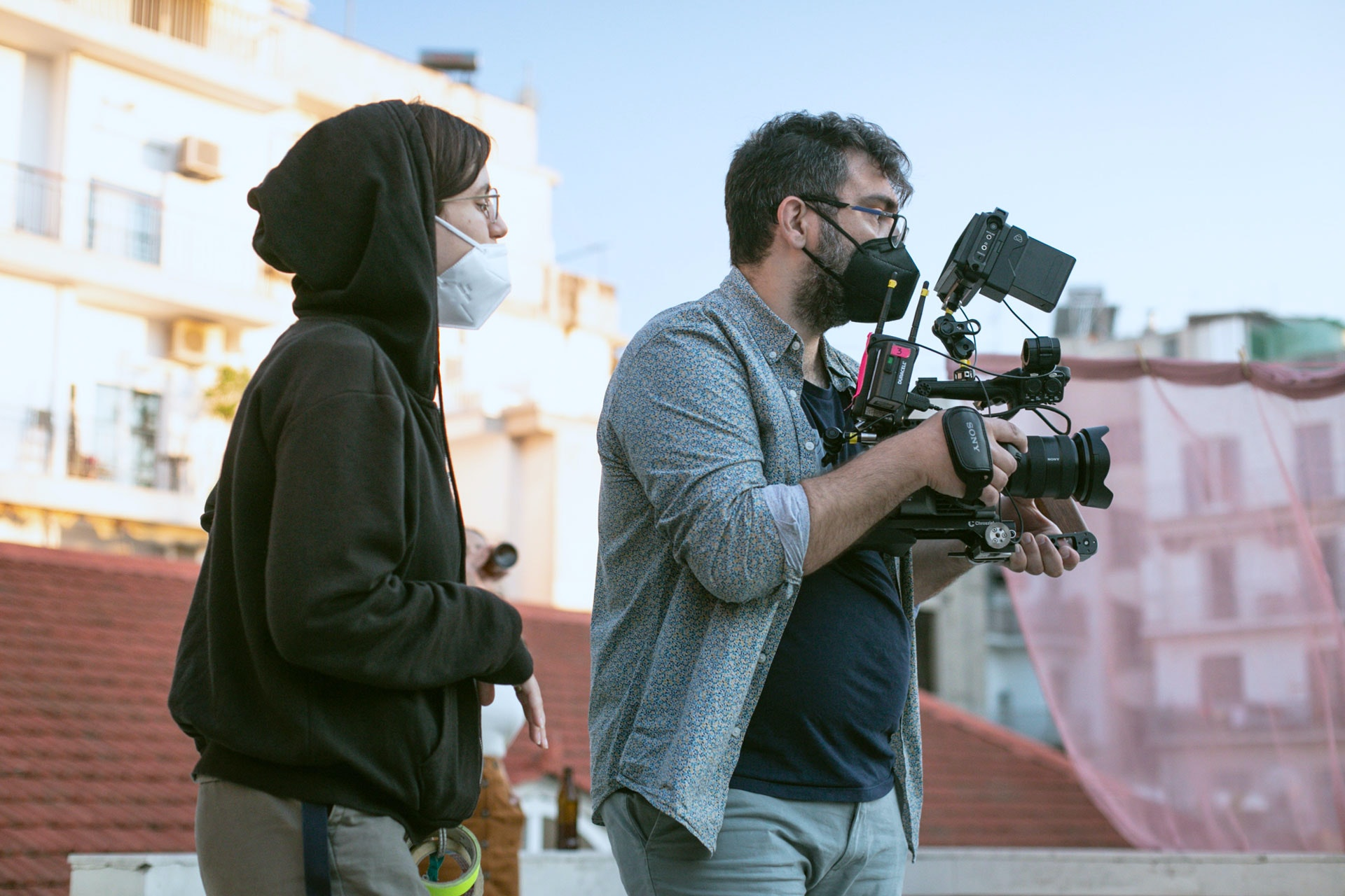 Shooting handheld with FX6 and protected by the magnificent AC Nefeli Ntakozoudi. Photo by Iliana Bennet