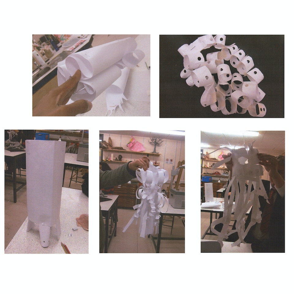 Youth Projects. Museum of The Home & University Of The Arts London potential of A4 paper and lamp prototypes