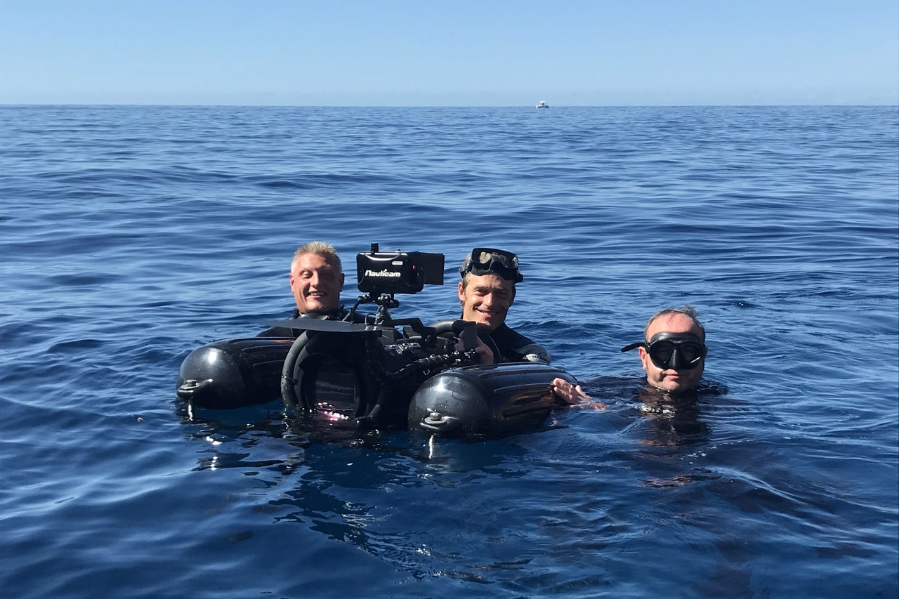 Dan, Glen and Richard. Getting a waterline shot on the Netflix Series 'Whitelines'