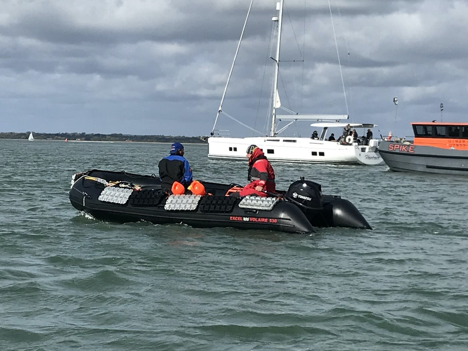 Large Safety Boat (SIB) in the Solent on The Beast Must Die