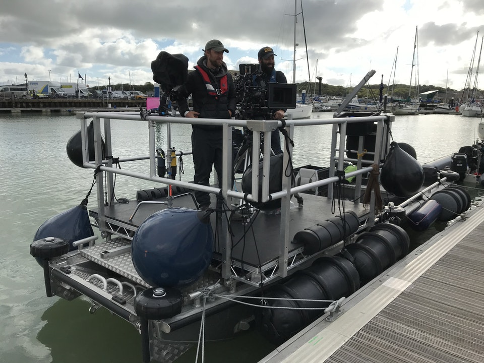 Large Camera Boat - filming in the Solent on The Beast Must Die (BritBox)