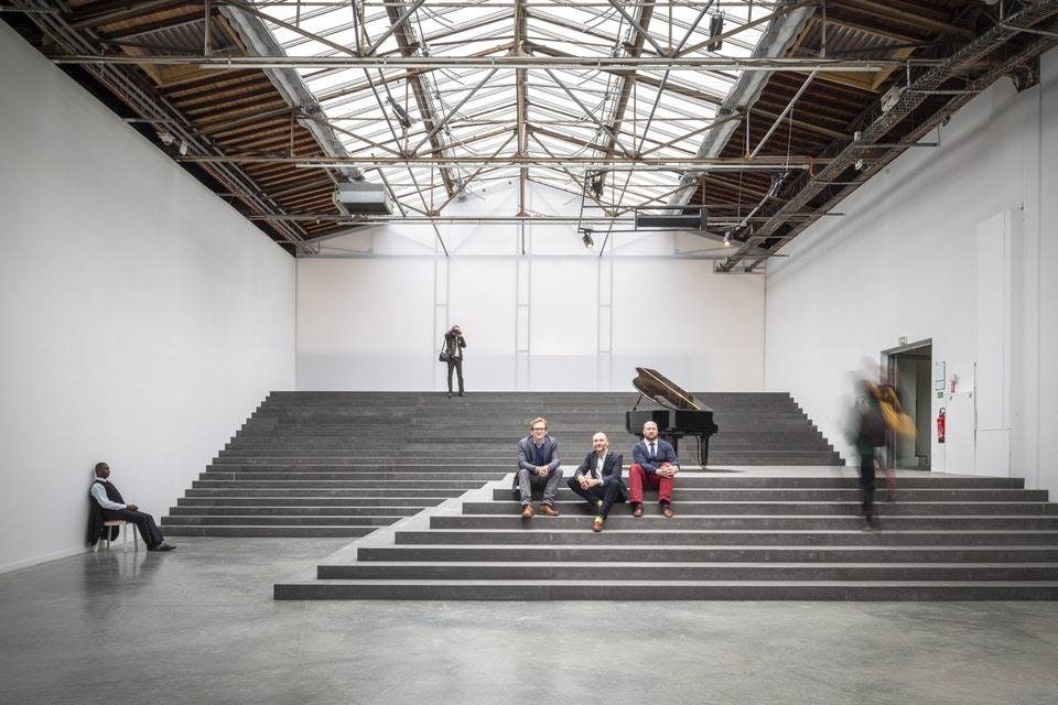 Portraits - Russell Curtis, Dieter Kleiner and Tim Riley of architect RCKa, photographed at the Palais de Tokyo, Paris, for Building Design magazine.