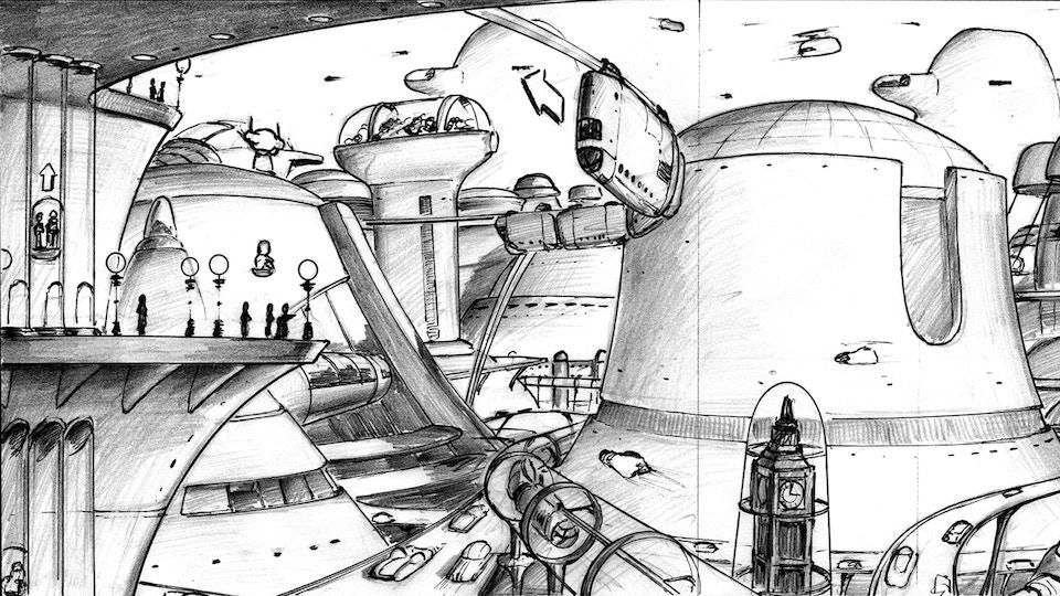 Dan Dare Futuristic London city