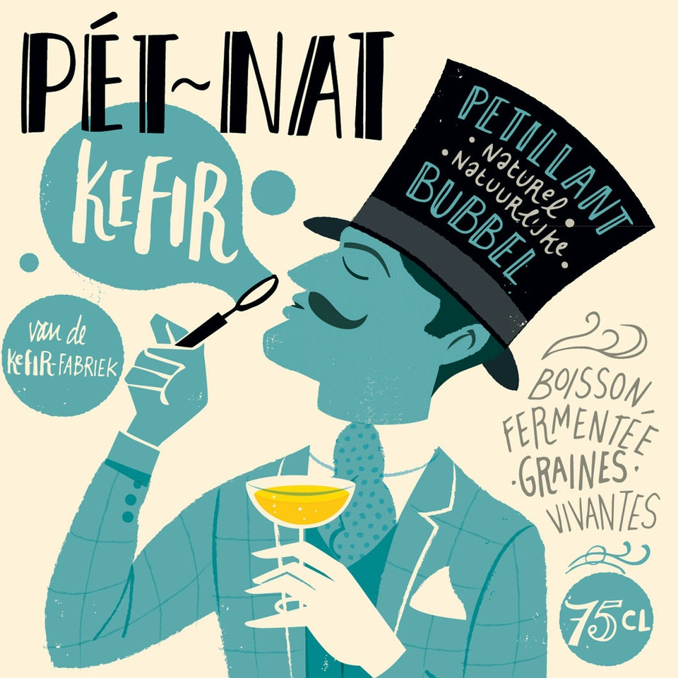 Wines and beers pet-nat-kefir bottle-label