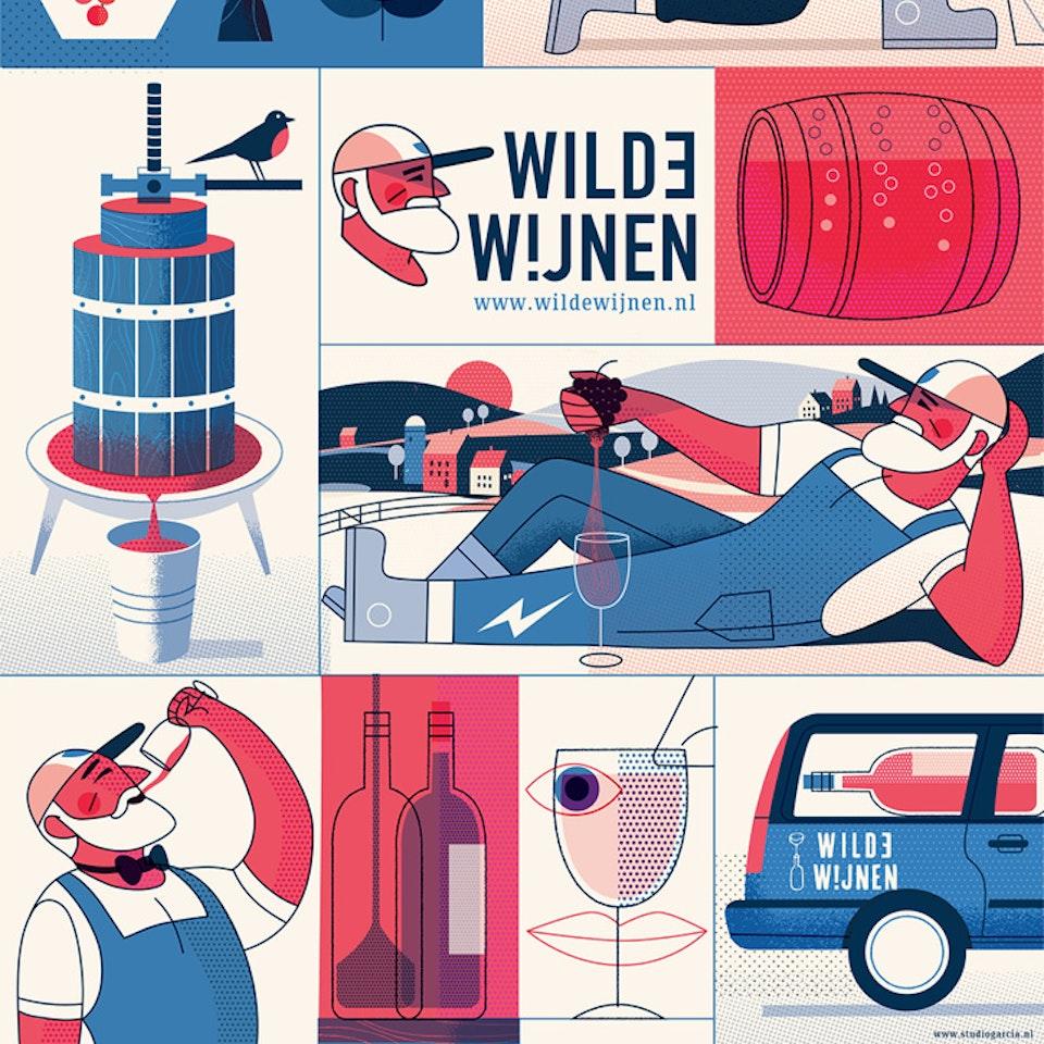 Wines and beers Wilde wijnen poster