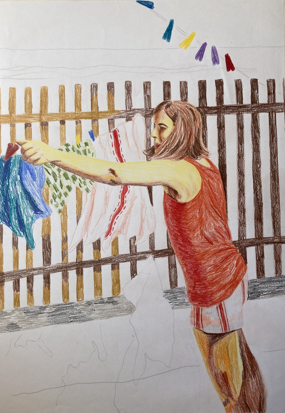 Realised Work - Washing to the East - 2020 - Colour Pencil on Paper - A3