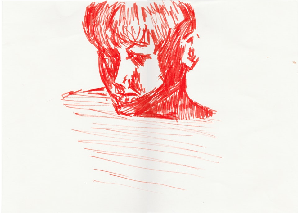 Sketches - Cameron - 2020 - Red Pen on Paper - 30 x 42 cm A3
