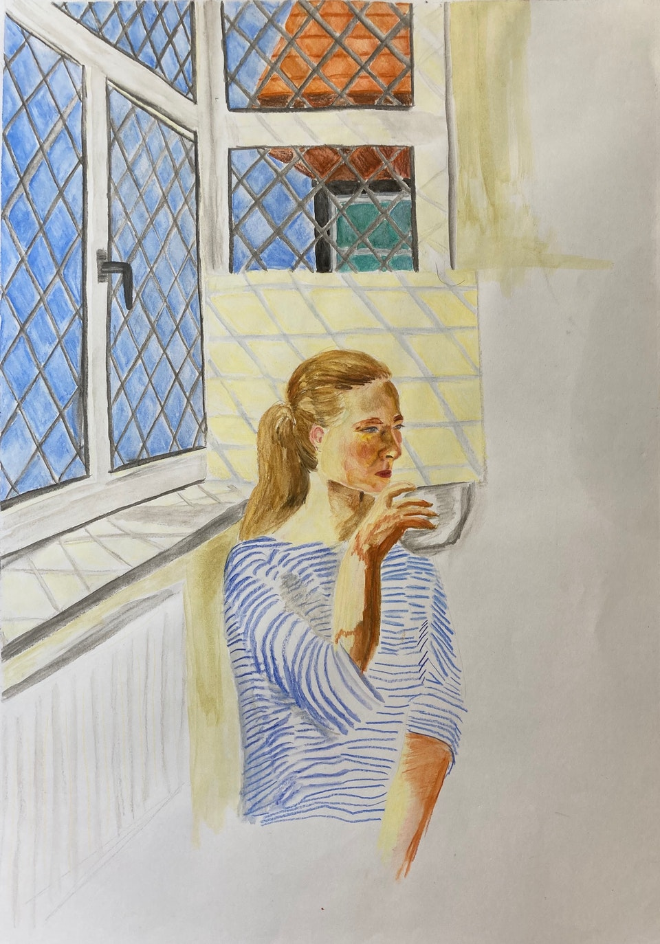 Realised Work - Coffee in the Window - 2020 - Watercolour Pencil and Watercolour on Paper - 30 x 42 cm