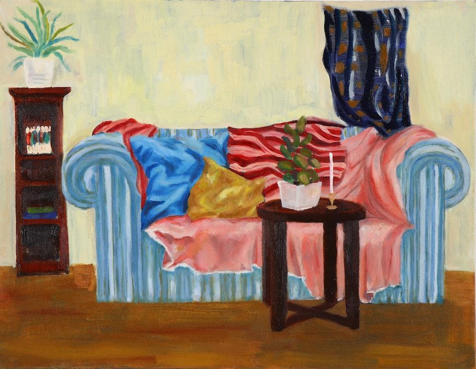 Interiors - Stripey sofa - 2019 - Oil on Canvas - 100 x 125 cm