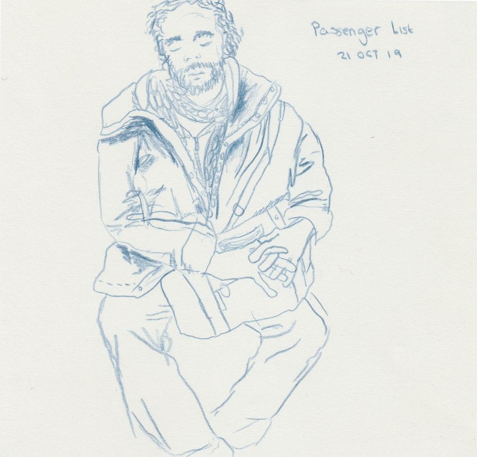 Sketches - Passenger List - 2019 - Colour Pencil Drawing - 21 x 21 cm
