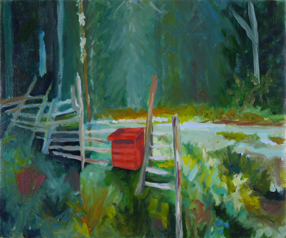 Nature - Red Postbox - 2017 - Oil on Canvas
