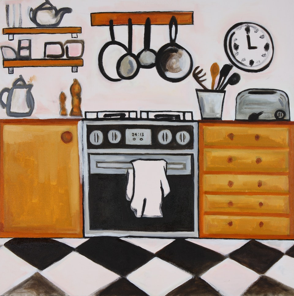 Interiors - Ochre Kitchen - 2019 - Acrylic and Oil on Canvas - 70 x 70 cm