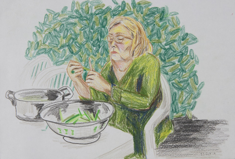 Realised Work - Mormor Beans in Beziers - 2019 - Pencil on Paper - 21 x 30 cm