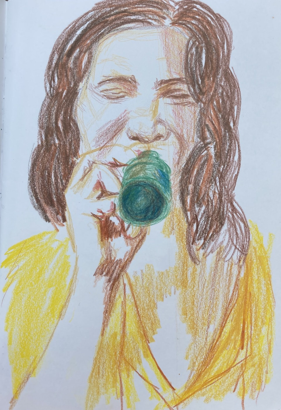 Portraits - Beer and Yellow Dress - 2020 - Pencil on Paper - 15 x 21 cm A5