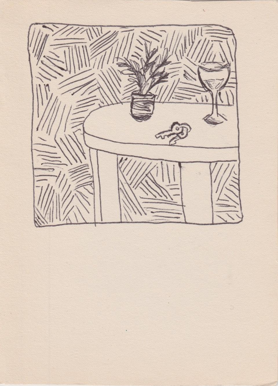 Domestic - Lines - 2020 - Pen on Cream Paper - 10 x 15 cm A6