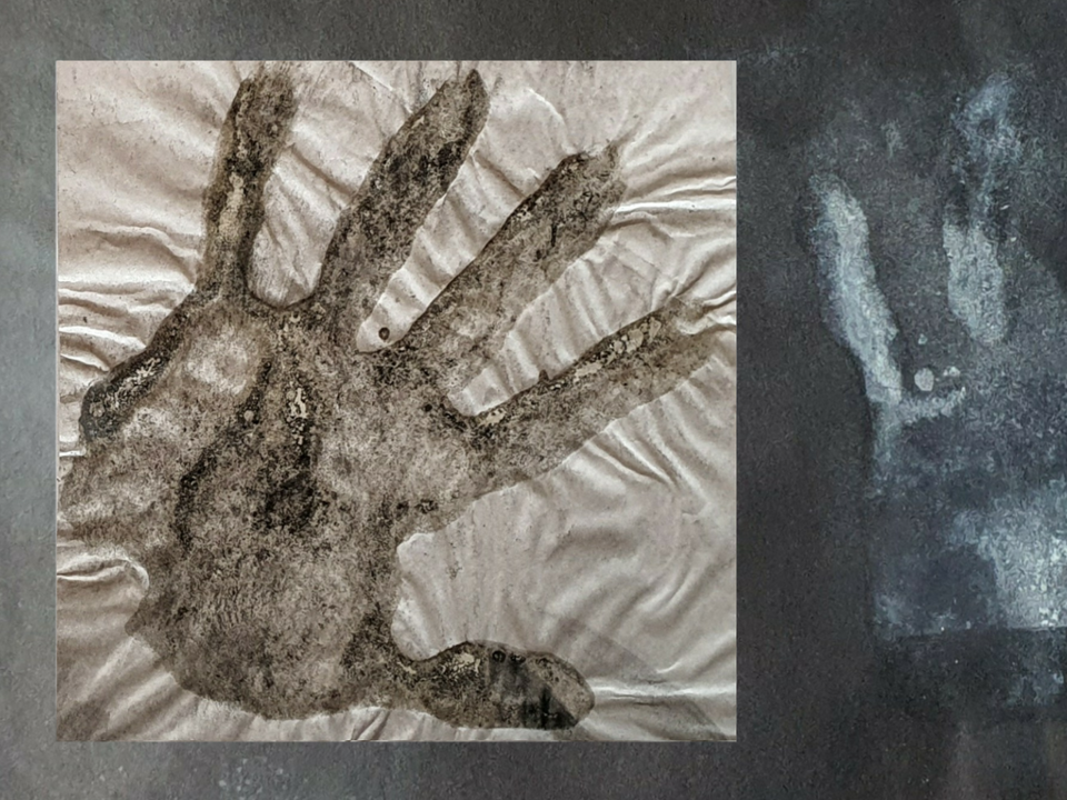 Final project - Journey - Egg white, charcoal dust and ground conte on paper