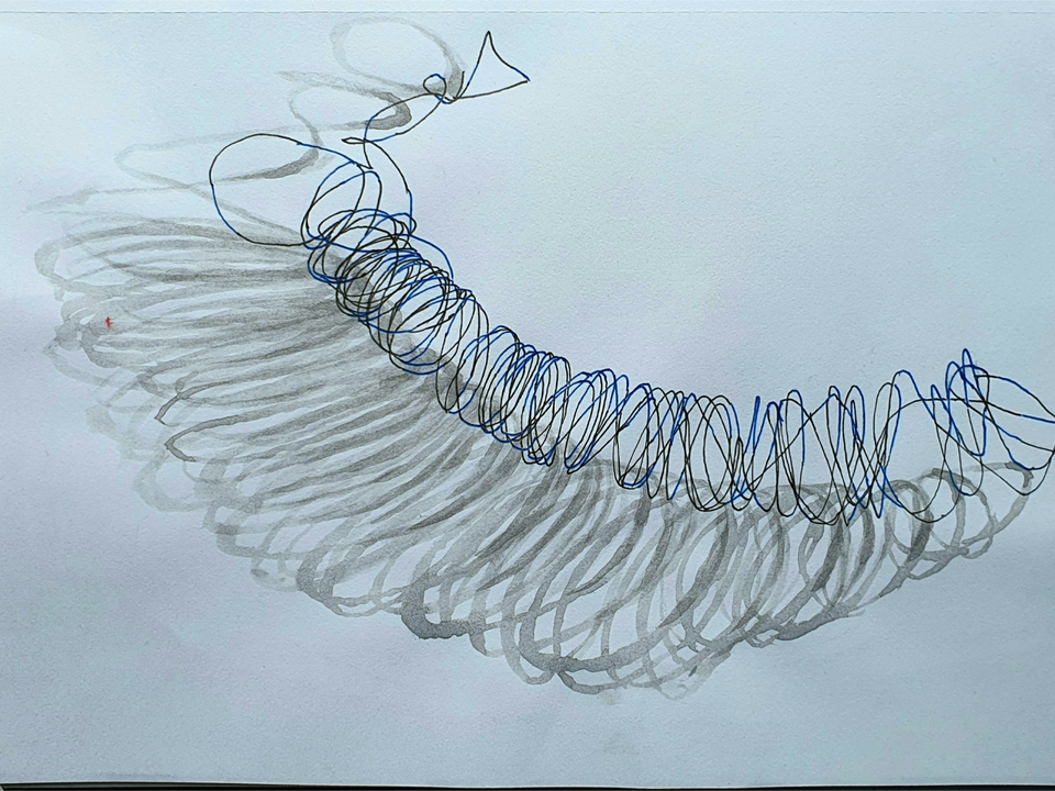 Final project - Journey - Gel pen and ink wash on paper