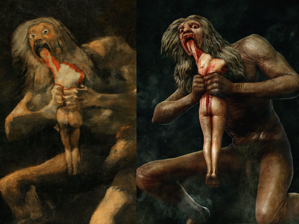 HYPER-REAL SATURN DEVOURING HIS SON