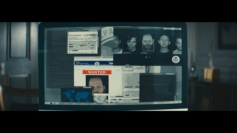 """FUI/PLAYBACK GRAPHICS - Graphic design/FUI/playback graphics of """"FBI Wanted"""" computer screen in The Last Witch Hunter (2015). Design by Tiz Beretta. Compositing.VFX/Animation by Image Engine Design Inc. 9 shots total."""