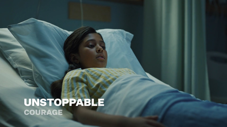 """Unstoppable - SURREY HOSPITAL - This emotive PSA was part of the greater UNSTOPPABLE campaign. We wanted to create something iconic and compelling to cut through to potential donors and create camaraderie for staff and patients.    Highlighting the feeling that 'Together, we are unstoppable'.    In this episode, I worked with upcoming child actor Alisha Bhattrai to compound her thoughts and fears in this single take.  Agency - Full Punch Agency Producer - Claire Khan Creative Director - Chris Zawada Client - Surrey Hospital Foundation  Director - Cassie De Colling DP - Bryn McCashin 1st AC - Olly Bian Gaffer - Phoenix Simon HMU - Jessica De Palma PA - Claudi Absi Editor - Harrison Barrett Colourist - Sam Gilling SFX + Score - Ryan Marchant   My personal mantra for this campaign was the quote:  """"Incredible things can be done simply if we are committed to making them happen.""""  — Jaggi Vasudev"""