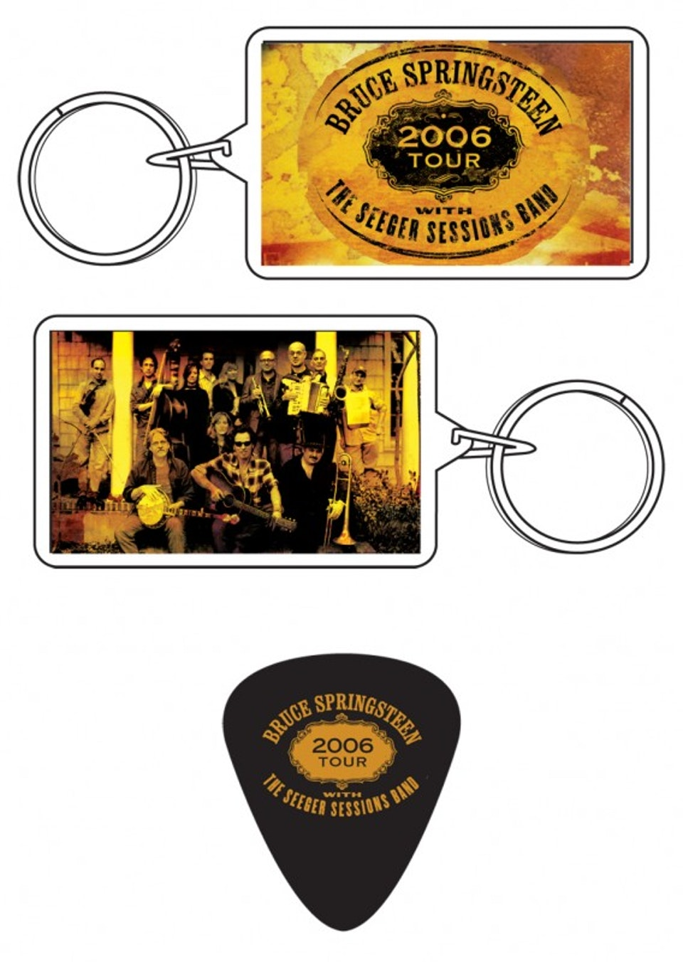 Seeger Sessions Tour Merch - Keychain and guitar pick