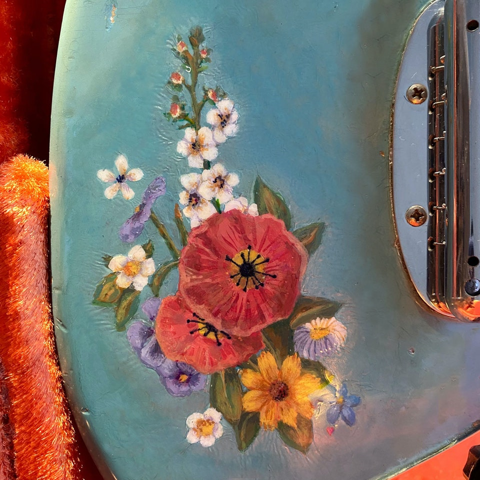 Flower hand-painted guitar