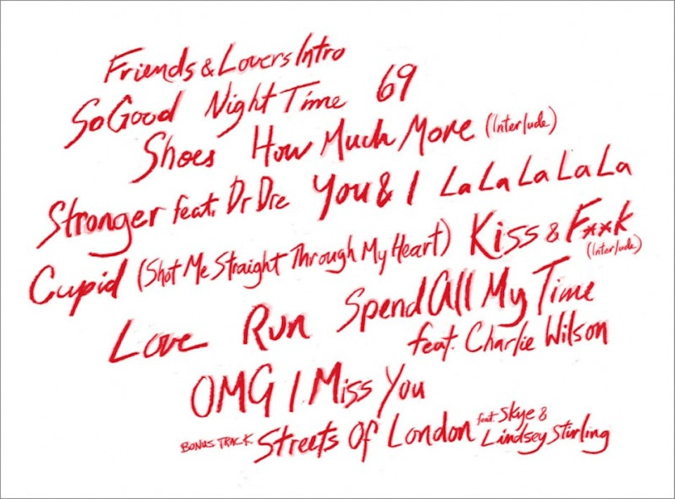 Marsha Ambrosius Friends & Lovers - Handwritten track listing