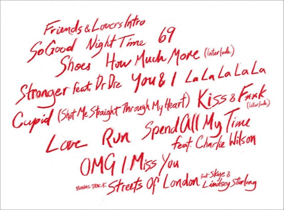 Marsha Ambrosius Friends & Lovers - Handwritten track listing