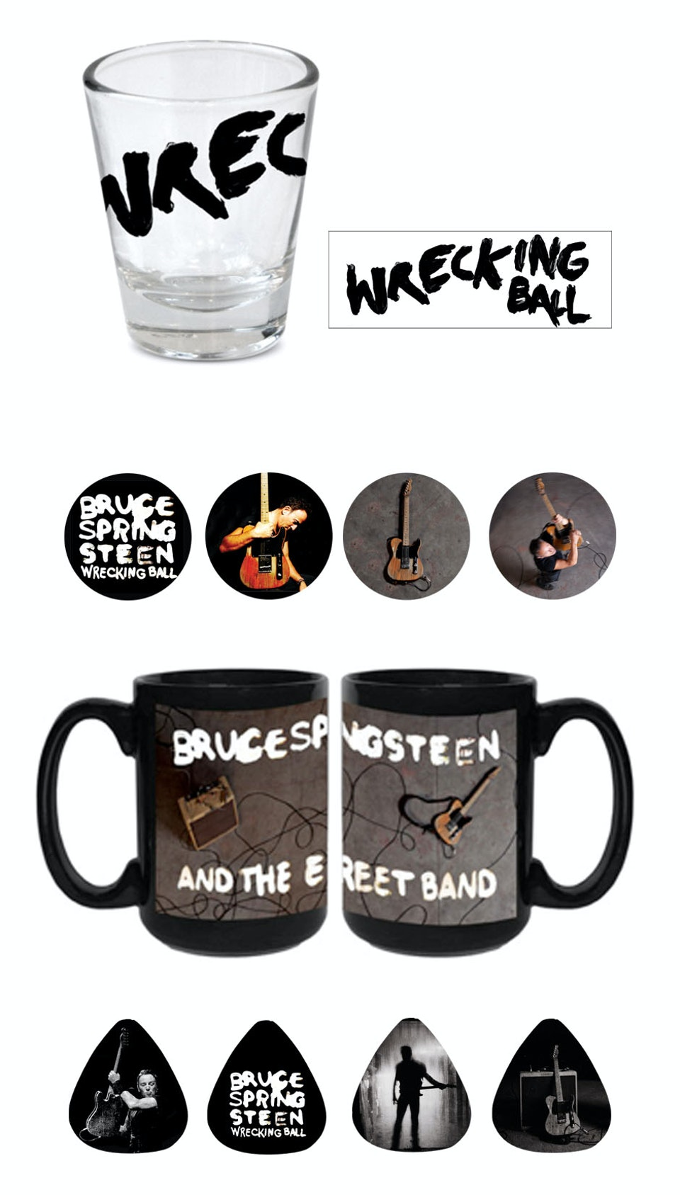 Wrecking Ball Tour Merch - Shot glass, pin, mug and guitar picks