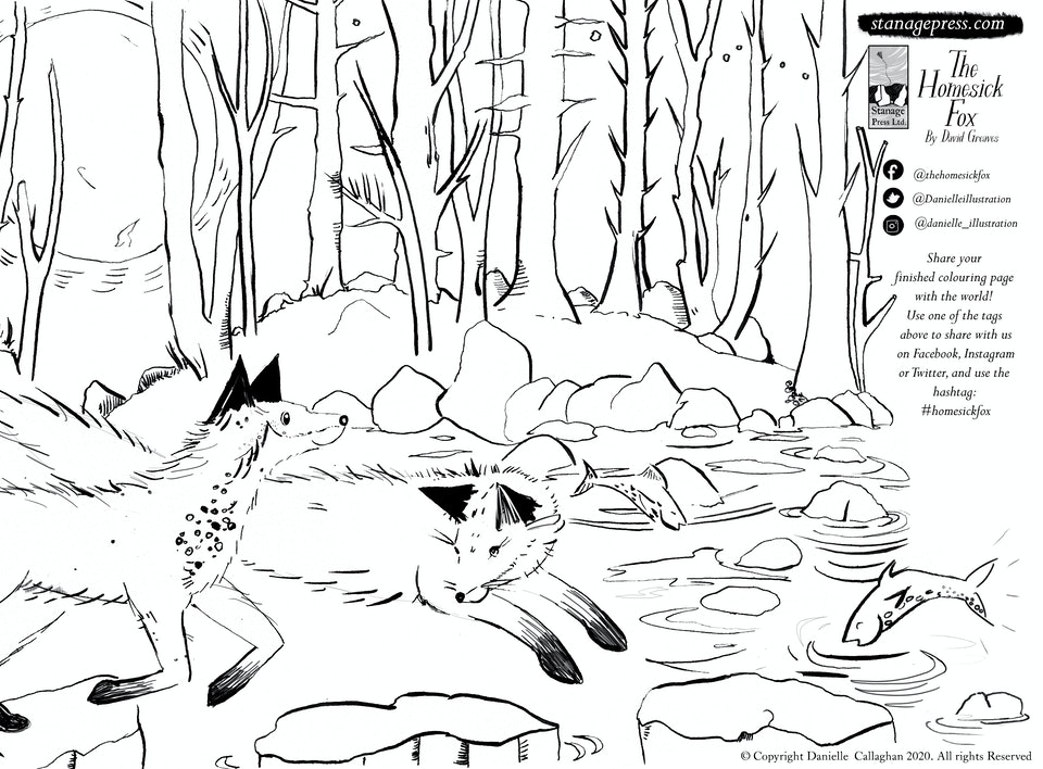Homesick Fox colouring sheet - stepping stones