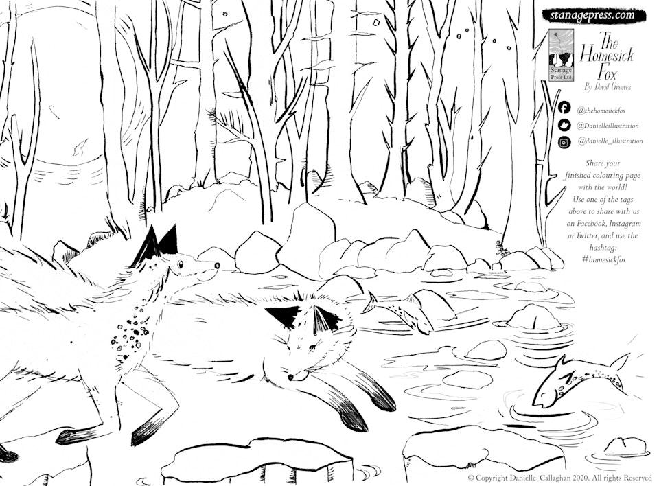 Homesick Fox colouring sheet - stepping stones