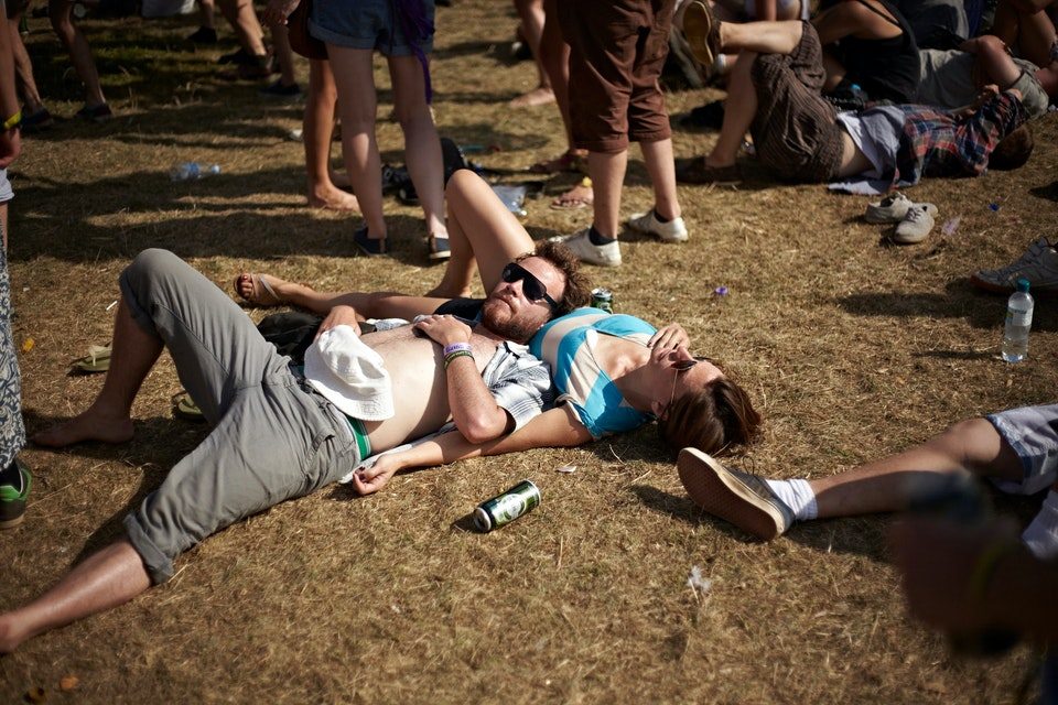 Lifestyle - Couple having a rest at Music Festival - Photographed for Various at Bestival, Isle of White.