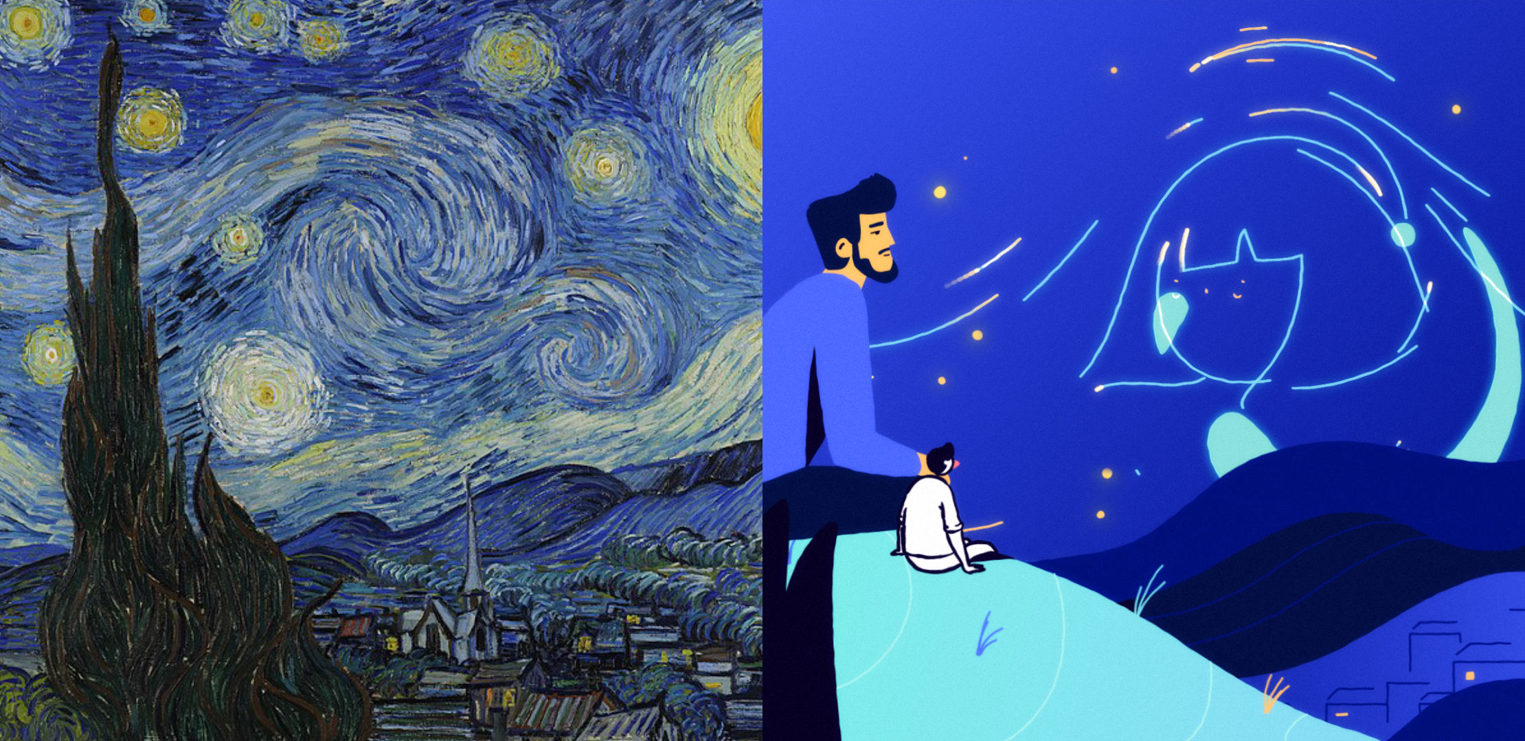 The Starry Night by Van Gogh original and illustration
