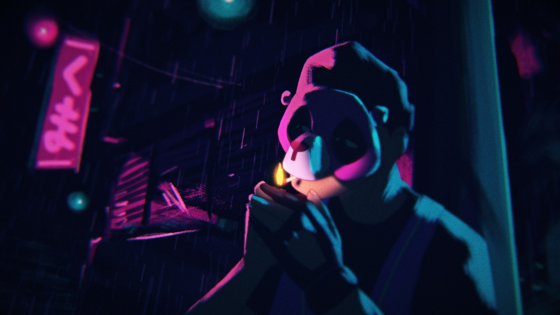 Illustration of a character with a mask smoking a cigarette