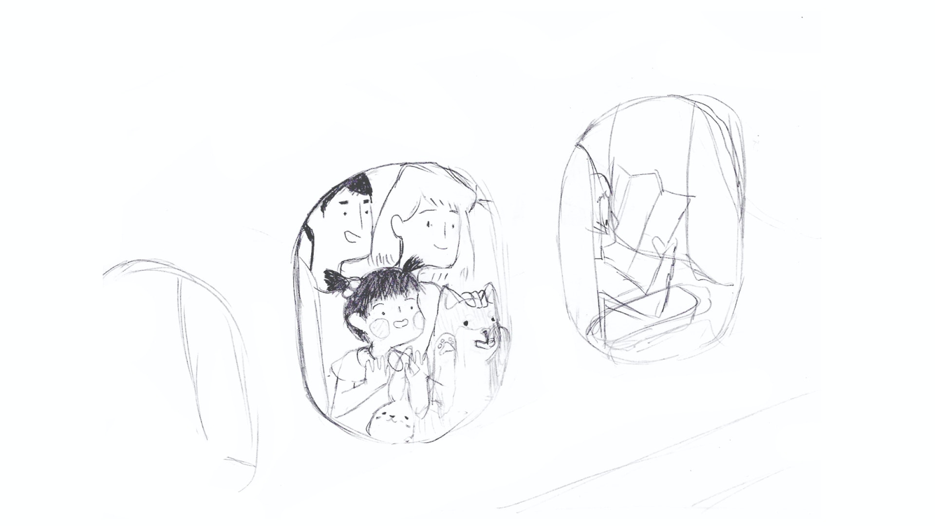 Drawing of a family looking out the window of the plane