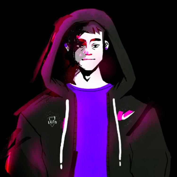 Hooded boy character design illustration